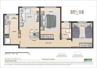 Planta baixa do Apartamento 103 - Torre 7