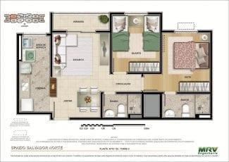 Planta baixa do Apartamento 103 - Torre D