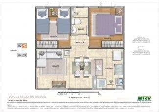 Planta baixa do apartamento 201 - Bloco 2
