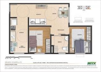 Planta baixa do Apartamento 208 - Torre 1 - PNE