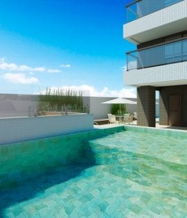Perspectiva da piscina do Blue Coast Residence