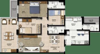 Perspectiva dos Apartamentos 101 a 1401