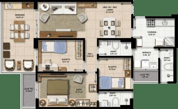 Perspectiva dos Apartamentos 102 a 1402