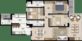 Perspectiva dos Apartamentos 104 a 1404