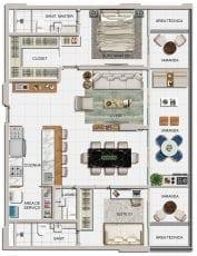 Planta baixa dos apartamentos de 02 suítes 03 e 04 do Jazz Princesa Isabel
