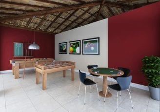 Perspectiva do salão de jogos do Bella Vitta Residencial