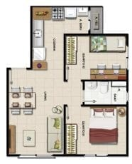 Planta Baixa do apartamento 2 quartos com 44m2