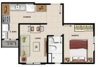 Planta Baixa do apartamento quarto e sala com 33m2