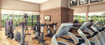 Perspectiva da academia de ginástica do Condomínio Reserva Sauípe
