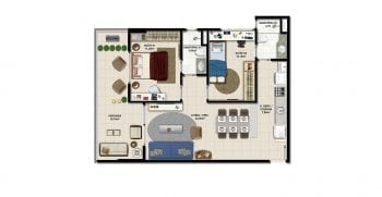 Planta baixa do apartamento tipo 2 quartos do Miramar Residencial