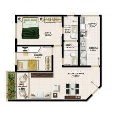 Planta Baixa do apartamento Tipo com 59m2