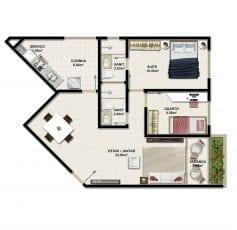 Planta Baixa do apartamento Tipo com 67m2