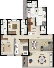 Planta baixa do apartamento tipo 3 quartos com suíte, gabinete e lavabo.