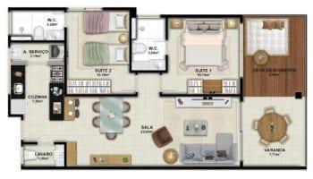 Planta baixa do apartamento tipo 2 quartos com lavabo do OAHU Alto de Imbassaí