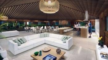 Perspectiva do espaço gourmet e salão de festas do Residencial Ykutiba Imbassaí