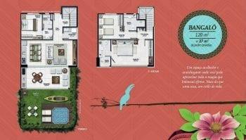 Planta baixa do Bangalô de 120m2 com 37m2 de jardim privativo do Residencial Ykutiba Imbassaí