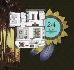 Planta baixa do apartamento 2 quartos de 80m2 superior no Residencial Ykutiba Imbassaí
