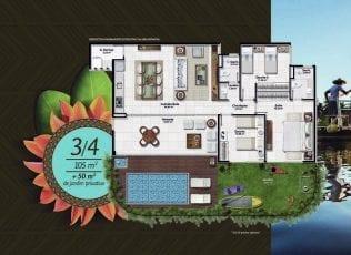 Planta baixa do apartamento 3 quartos de 105m2 com 50m2 de jardim privativo no Residencial Ykutiba Imbassaí