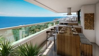 Perspectiva da varanda do apartamento de 3 quartos do Palazzo Rio Vermelho