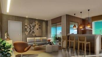 Perspectiva do Apartamento de 1 quarto com lavabo do Palazzo Rio Vermelho