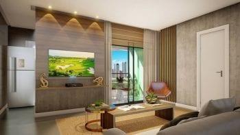 Perspectiva do Apartamento de 1 quarto do Palazzo Rio Vermelho