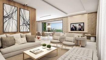 Perspectiva do living do apartamento cobertura duplex do Palazzo Rio Vermelho