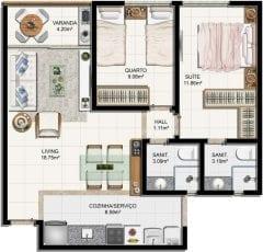 Planta baixa do apartamento 2 quartos com suíte