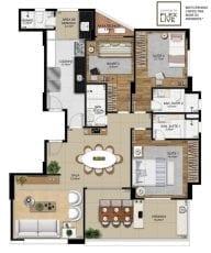 Planta baixa do apartamento de 3 quartos.