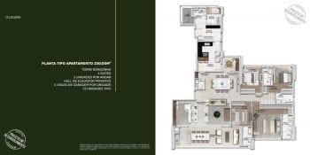 Descrição do apartamento tipo 230m2 do Monvert