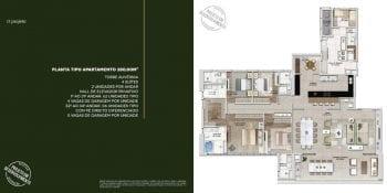Descrição do apartamento tipo 280m2 do Monvert