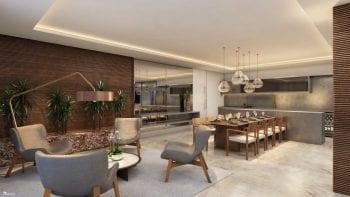 Perspectiva do lounge para eventos com espaço gourmet.