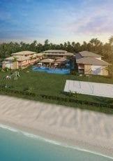 Perspectiva aérea da quadra de praia e piscina adulto e infantil do Imperia Lounge Itacimirim