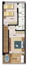 Planta baixa do apartamento com 2 suítes duplex, andar superior do Imperia Lounge Itacimirim