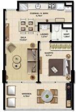 Planta baixa do apartamento quarto e sala com área privativa de 48,75m² e 1 vaga de garagem.