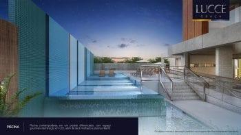 Perspectiva da piscina.