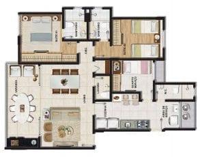 Planta baixa do apartamento tipo 2 quartos (2 suítes) com lavabo e dependência em 95,64m² de área privativa.