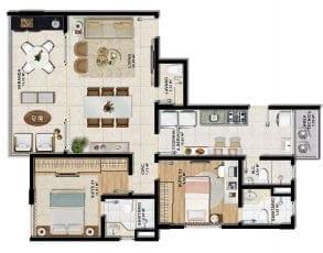Planta baixa do apartamento tipo 2 suítes com lavabo em 82,02m².