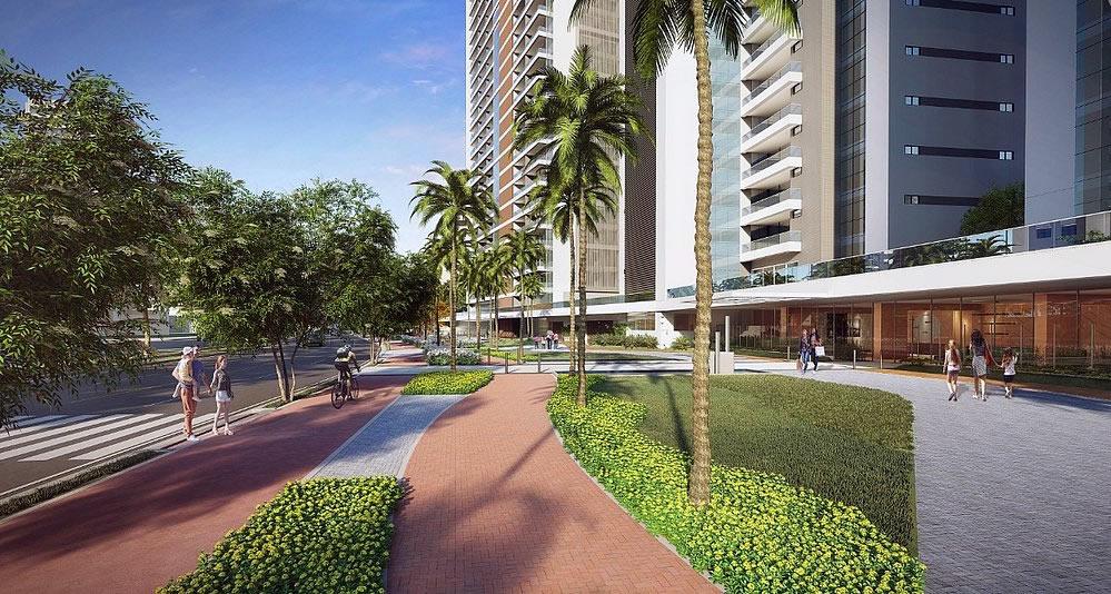 Boulevard com 15 metros de largura e muito verde na frente do do Undae Ocean e Beach Class Salvador