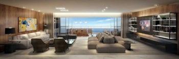 Perspectiva do Living - Apartamento 300m² do Undae Ocean