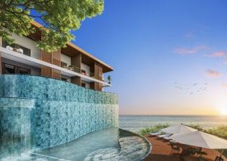 Perspectiva lateral da piscina com cascata e deck