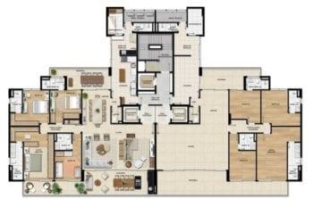 Planta baixa do apartamento de 245,19m² do Undae Ocean