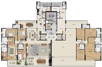 Planta baixa do apartamento de 302,99m² do Undae Ocean