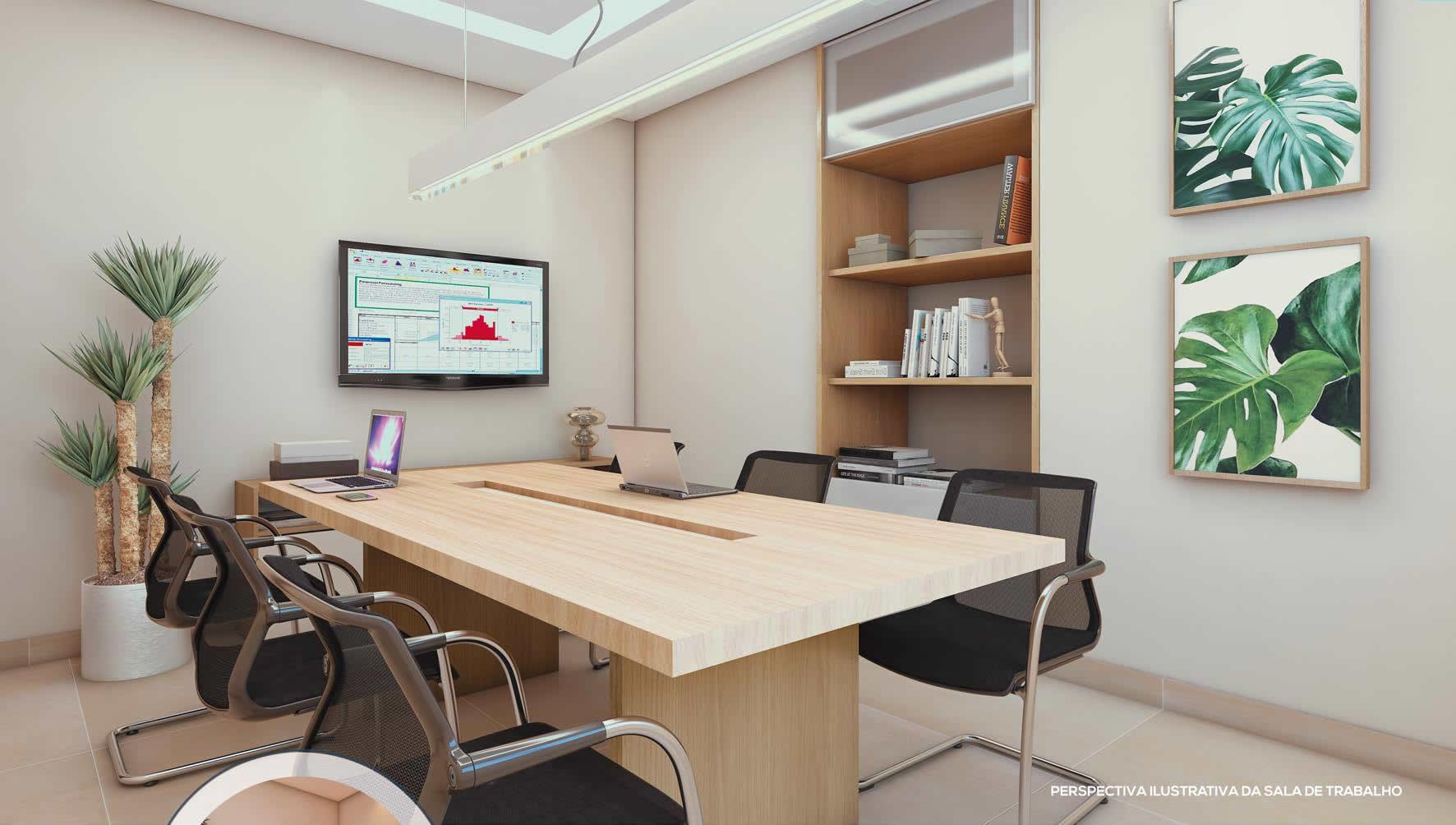 Perspectiva da Sala de Trabalho do Residencial Santorini