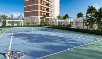 Perspectiva da quadra de tênis do Horto Parque Barcelona