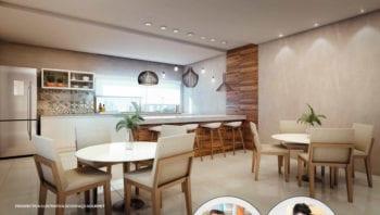 Perspectiva do Espaço Gourmet do Residencial Santorini