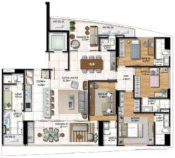 Planta Baixa do apartamento tipo 01 com 4 suítes, planta padrão e cozinha integrada