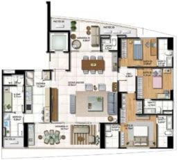 Planta Baixa do apartamento tipo 02 com 3 suítes e living ampliado