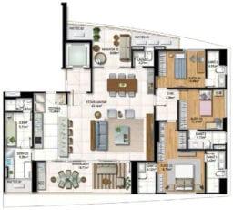 Planta Baixa do apartamento tipo 03 com 3 suítes, living ampliado e cozinha integrada