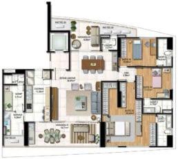 Planta Baixa do apartamento tipo 04 com 3 suítes, living e suite master ampliados