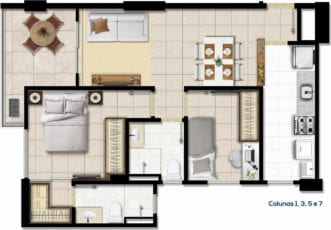Planta baixa do apartamentos tipo A e C